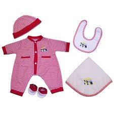 "20"" Nursery Baby Doll Red Striped Truck Dylan Doll Ensemble"