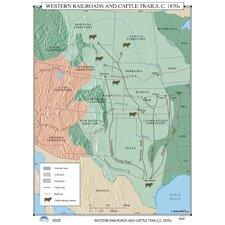 U.S. History Wall Maps - Western Railroads & Cattle Trails
