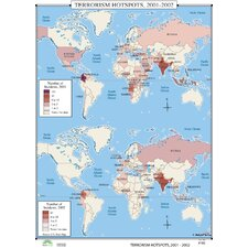 World History Wall Maps - Terrorism Hot Spots 2001-2002