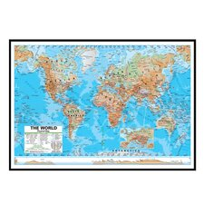World Advanced Physical Mounted Framed Wall Map