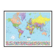 World Advanced Political Mounted Framed Wall Map