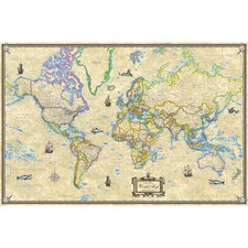 World Antique Mounted Wall Map