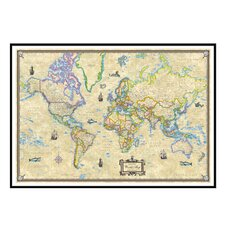 World Antique Mounted Framed Wall Map