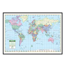 World Primary Mounted Framed Wall Map