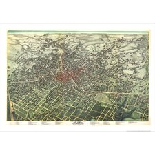 Atlanta 1892 Historical Print Mounted Wall Map