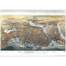 Boston 1873 Historical Print Mounted Wall Map