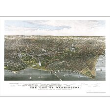 Washington 1880 Historical Print Mounted Wall Map