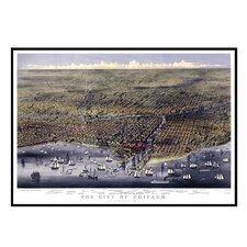 Chicago 1874 Historical Print Mounted Framed Wall Map