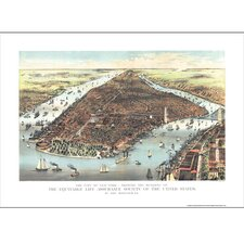 New York 1883 Historical Print Mounted Wall Map