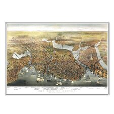 Boston 1873 Historical Print Mounted Framed Wall Map