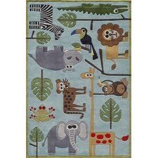 Lil Mo Whimsy Blue Safari Kids Area Rug