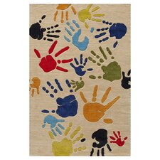 Lil Mo Whimsy Ivory Finger Paint Kids Area Rug