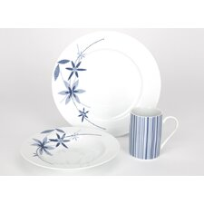 12 Piece Dinner Set in Floral and Stripe