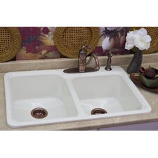 "Advantage Series 33"" x 22"" Chepachet 55/45 Double Bowl Self Rimming Kitchen Sink"