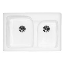"Advantage Series 33"" x 22"" x 10"" Providence 60/40 Double Bowl Self Rimming Kitchen Sink"