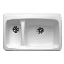 "Advantage Series 33"" x 22"" Barrington Double Bowl Hi-Lo Self Rimming Kitchen Sink"