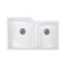 "Optimum Series 32.25"" x 21.5"" Narragansett Double Bowl Undermount Kitchen Sink"