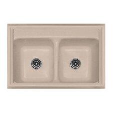 "Advantage Series 33"" x 22"" Jamestown 50/50 Double Bowl Classic Self Rimming Kitchen Sink"