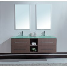"<strong>Stufurhome</strong> 60"" Calypso Double Sink Vanity Set"