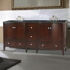 "Corona 72"" Double Bathroom Vanity in Polished Dark Brown with Granite Top"