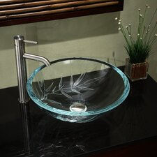 UltraGlass Vessel Bathroom Sink with Bamboo Design