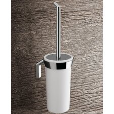 Karma Wall Mounted Toilet Brush Holder in Bright White and Chrome