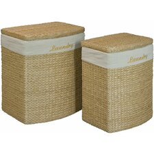 2 Piece Wicker Laundry Basket Set