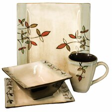 16 Piece Dinner Set in Floral Edged Cream