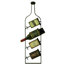 Vintage 4 Bottle Wall Mounted Wine Rack