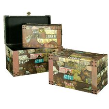Travel Print Trunk (Set of 3)