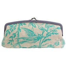 Blue Imperial Linen Cameo Clutch