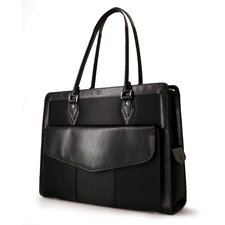Large Women's Geneva Laptop Handbag in Black Microfiber with Leather Trim