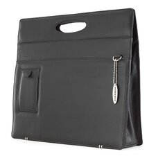 Women's Full-Grain Leather Briefcase in Black