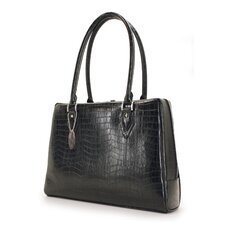 Large Women's Milano Laptop Handbag in Black Faux Croc