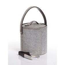 Barclay Butera Equestrian Hide Ice Bucket with Ice Tong