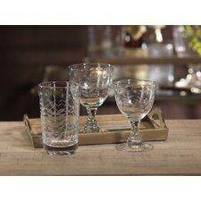 Spring Leaves Cut Design White Wine Glassware (Set of 8)