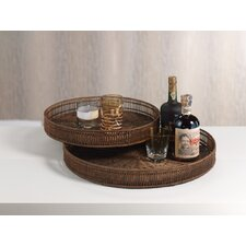 Bamboo Round Serving Tray (Set of 2)