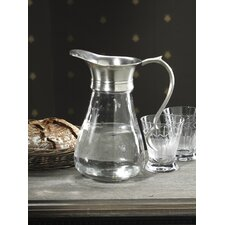 Hotel Glass And Pewter Pitcher