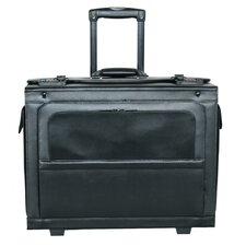 "14"" Leather Hardsided Rolling Laptop Catalog Case"