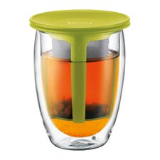 Tea for One Double Wall Glass with Strainer in Green