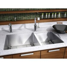"J7 32"" x 19.5"" Undermount 16 Gauge Double Bowl Kitchen Sink"