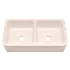"F140 39.13"" x 18.25"" Farmhouse Double Bowl Kitchen Sink"