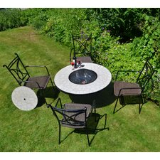 Tudela 5 Piece Round Low Dining Set