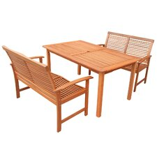 Tornio 3 Piece Rectangular Dining Set