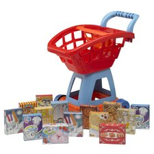 <strong>American Plastic Toys</strong> 15 Piece Deluxe Shopping Cart with Play Food