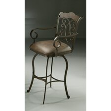 Athena Swivel Barstool with Arms with Florentine Coffee Fabric in Autumn Rust