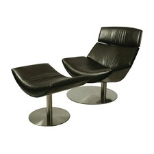 Exquisite Leather Lounge Chair and Ottoman