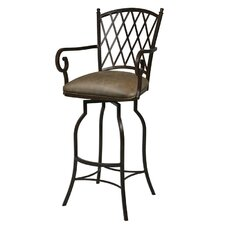 "Atrium Rust 26"" Counter Stool w/ Arms in Florentine Coffee Vinyl"