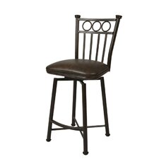 "Bostonian Rust 26"" Swivel Barstool w/ Coffee Fabric"