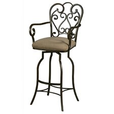 "Magnolia Rust 30"" Swivel Bar Stool w/ Arms in Moccasin Suede Fabric"